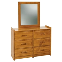 6-Drawer Wooden Dresser & Mirror - Honey Finish