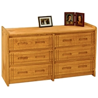 6-Drawer Dresser - Grooved Details, Honey Finish