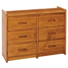 6-Drawer Wooden Dresser - Recessed Handles, Honey Finish