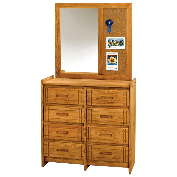 8-Drawer Dresser & Mirror - Cork Board, Honey Finish