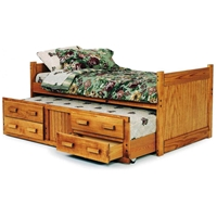 Twin Captain%27s Bed - Trundle, Drawers, Honey Finish