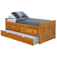 Twin Captain%27s Bed - Drawers, Trundle, Honey Finish