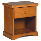 Wooden Nightstand - Drawer, Open Shelf, Honey Finish