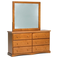 6-Drawer Dresser & Square Mirror - Knob Handles, Honey Finish