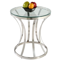 Double Ring Lamp Table - Clear Top, Stainless Steel