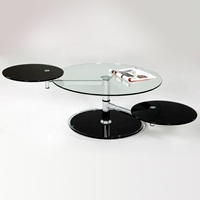 Briseis Contemporary Motion Cocktail Table - Round Glass Top