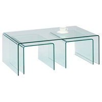 3 Pieces Table Set - Nested Bent, Clear