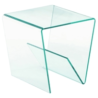 Square Bent Lamp Table - Clear