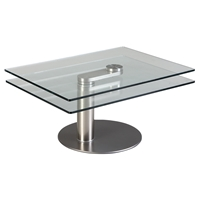 Motion Cocktail Table - Glass Top, Nickel Plated