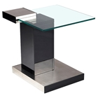 Glass Lamp Table - Clear Top, Brushed Stainless Steel