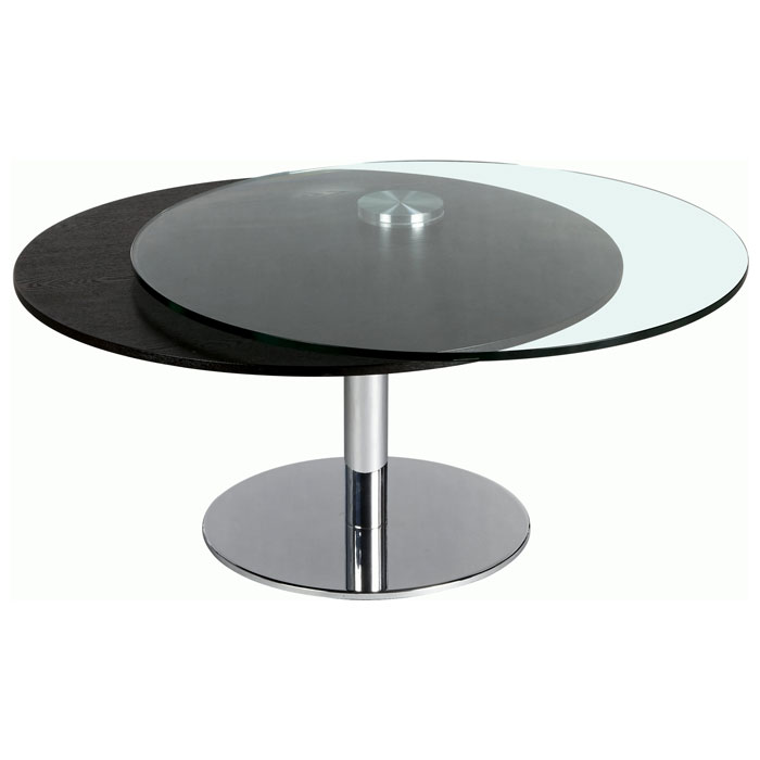 Scylla Round Cocktail Table with Motion Glass Top - CI-8176-CT