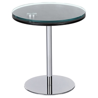 Motion Lamp Table - Merlot and Clear Top, Chrome Base