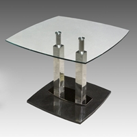 Cilla Lamp Table with Stainless Steel Columns