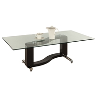 Fenya Rectangular Cocktail Table - Glass Top, Black and Chrome Base