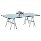 Karen Rectangular Cocktail Table - Glass Top, Shiny Stainless Steel Base