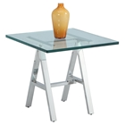 Karen Square Lamp Table - Glass Top, Shiny Stainless Steel Base
