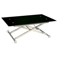 Sherry Cocktail Table - Adjustable Height, Black, Chrome