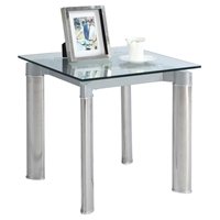 Tara Square Lamp Table - Clear Top, Shiny Stainless Steel