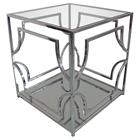 Avalon Square End Table - Clear Glass Top, Mirrored Shelf