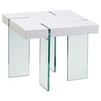 End Table - White Lacquer Top, Glass Legs
