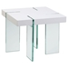 End Table - White Lacquer Top, Glass Legs - DS-CE776WH