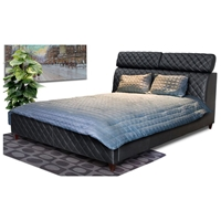 Coco Leather Tufted Bed with Adjustable Headrests
