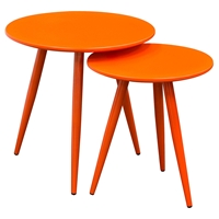 Duo 2 Pieces Nesting Tables - High Gloss Orange