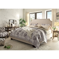 Kingston Platform Upholstery Bed - Nailhead, Desert Sand
