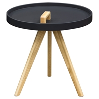 Mobi Accent Tray Table - Black, Oak, Designer Handle
