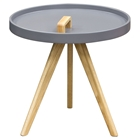 Mobi Accent Tray Table - Gray, Oak, Designer Handle