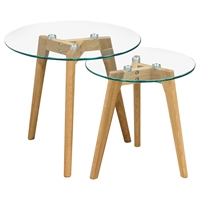 Monarch 2 Pieces Round Nesting Tables - Clear, Oak