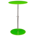 Orbit Glass Accent Table - Adjustable Height, Green, Chrome