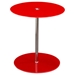 Orbit Glass Accent Table - Adjustable Height, Red, Chrome - DS-ORBITETRE