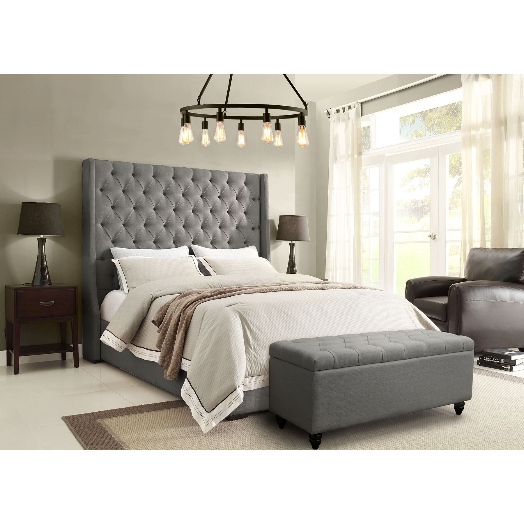 Park Avenue Platform Bed - Vintage Wing, Tufted, Gray