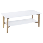 Perch Rectangular Cocktail Table - White, Oak, Shelf