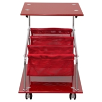 Rocket Castered Accent Table - Storage, Glass Top, Red
