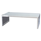Soho Rectangular Cocktail Table - Stainless Steel, Glass Top