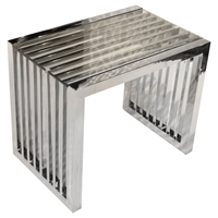 Soho Rectangular End Table - Stainless Steel, Glass Top