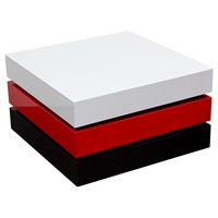 Spark Tri-Color Cocktail Table - Rotating, Storage, White, Red, Black