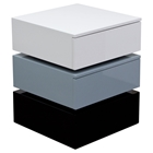 Spark Accent Table - 2 Drawers, White, Gray, Black