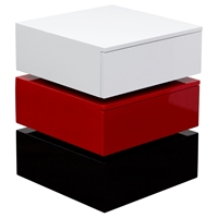 Spark Accent Table - 2 Drawers, White, Red, Black