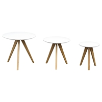 Sprout 3 Pieces Nesting Table Set - White, Oak