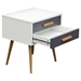Tangent Accent Table - 2 Drawers, White, Gray, Oak - DS-TANGENTETWHGR