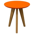 Trio End Table - Orange Top, Oak Legs