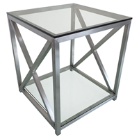 X-Factor End Table - Glass Top, Shelf, Stainless Steel, Clear