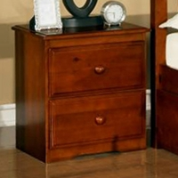 Isidore Wooden Nightstand - 2 Drawers, Light Espresso Finish