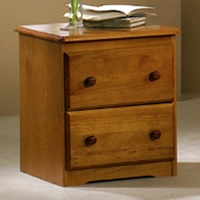 Isaac Wooden Nightstand - 2 Drawers, Honey Finish