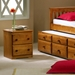 Isaac Wooden Nightstand - 2 Drawers, Honey Finish - DONC-102H
