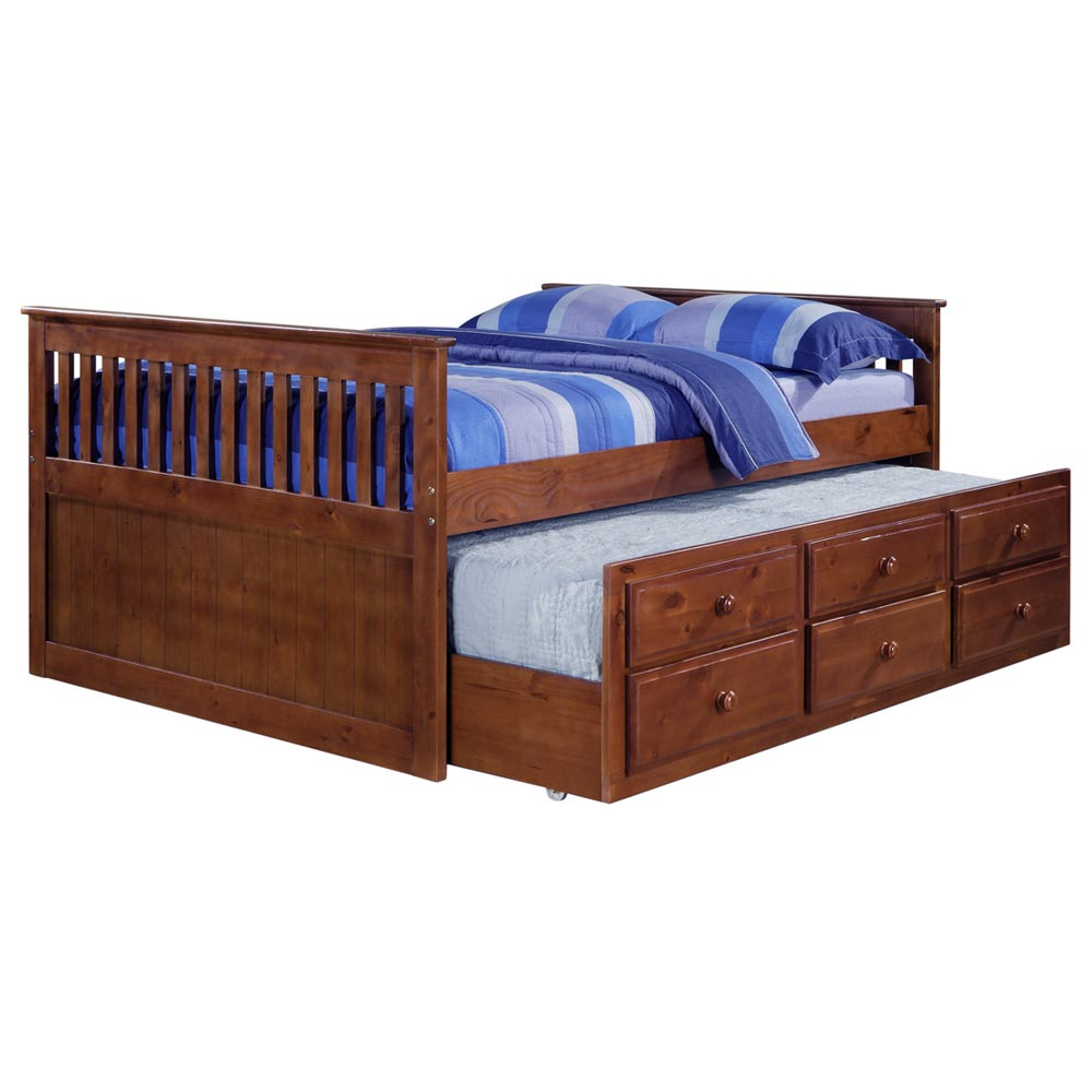 Gershwin Full Mission Trundle Bed - Round Knobs, Light Espresso