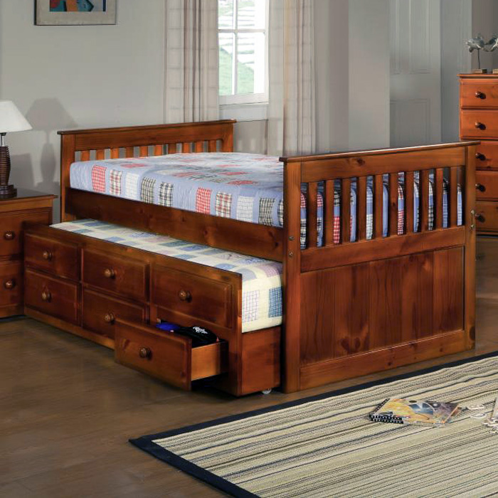 Gershwin Twin Mission Trundle Bed - Round Knobs, Light Espresso